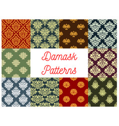 Floral patterns of seamless damask flower tracery vector