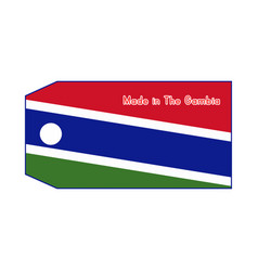 gambia flag on price tag with word made in vector image vector image