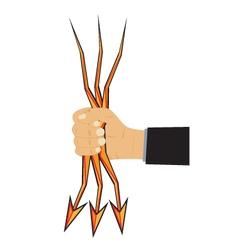 Hand and arrow-lightning vector