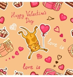 happy valentines cat vector image vector image