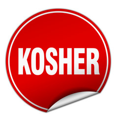 Kosher round red sticker isolated on white vector