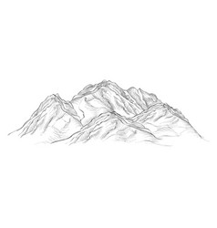 Mountains sketch isolated sign engraving vector