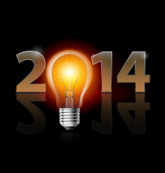 New year 2014 metal numerals with electric bulb vector
