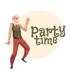 Old man dancing cartoon invitation banner vector