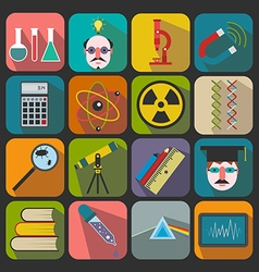 Set of flat science icons on a color background vector image