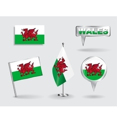 Set of Welsh pin icon and map pointer flags vector image