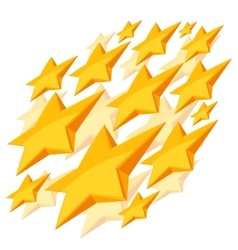 Shiny golden stars falling on white background vector image