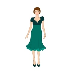 Woman in elegant green dress flat icon vector image vector image
