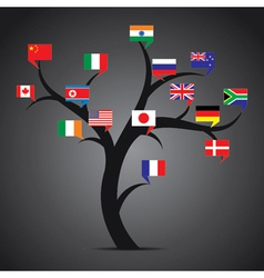 World country flag tree vector
