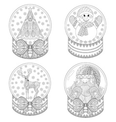 zentangle snow globes with Christmas tree Santa vector image