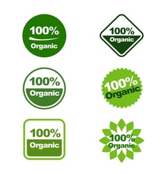 100 Organic Green Labels vector image