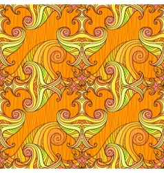 Orange seamless abstract hand-drawn pattern vector image
