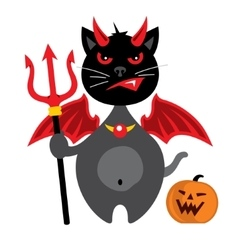 Halloween crazy black cat cartoon vector