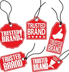 Trusted brand red tag set vector