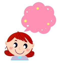 Little cute girl with pink dreaming bubble vector image