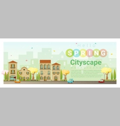 Hello spring cityscape background 4 vector image