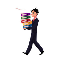 young businessman overloaded with document folders vector image