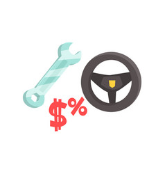 Black steering wheel and spanner car service vector