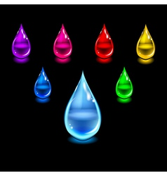 Glossy color drops vector