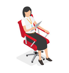 Businesswoman on red office chair vector