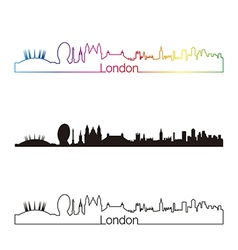 London skyline linear style with rainbow vector