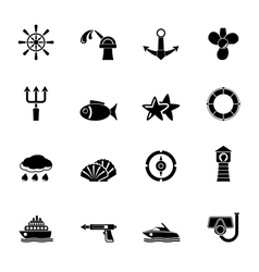 Silhouette marine and sea icons vector