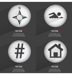 Set of 4 flat buttons icons with shadows on vector