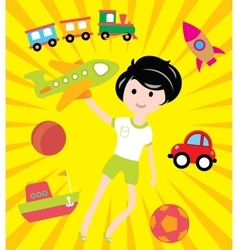 Kids dreams with many toys and transport vector