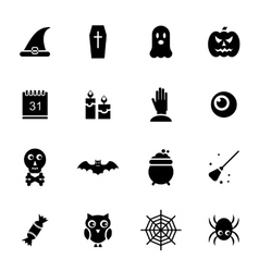 Halloween Traditional Icons Black Silhouettes vector image