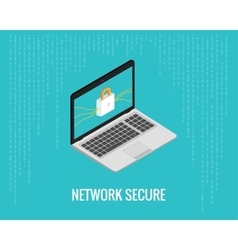 Network secure with laptop and lock vector