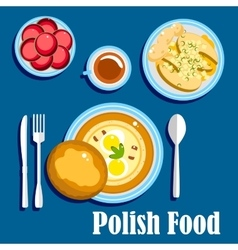 Traditional polish cuisine food and desserts vector