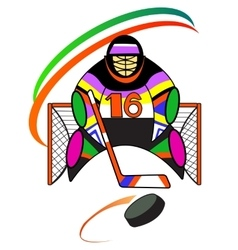 Hockey goalkeeper in the gate vector