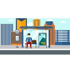 Man waiting for bus vector image