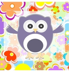 Cute summer background owl with flower vector