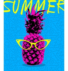 Summer design of pineapple with hipster glasses vector
