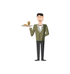 Waiter holding tray with food icon cartoon style vector
