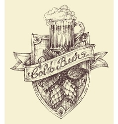 Beer label design a pint full of beer and hop vector