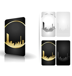 Black and white business cards vector image