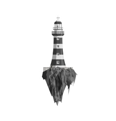 Black and white Lighthouse on flying Island vector image
