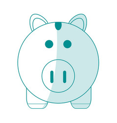blue silhouette shading cartoon piggy bank with vector image