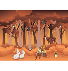 Cartoon autumn forest with animals vector