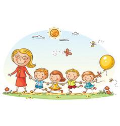 cartoon kids and their teacher outdoors vector image