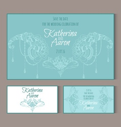 Circular patterns decor on wedding cards vector image vector image