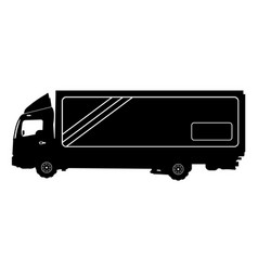 detailed silhouette of truck isolated on white vector image vector image