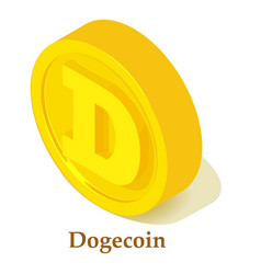 Dogecoin icon isometric style vector