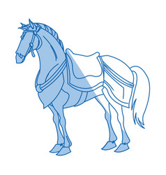 Drawing horse of warrior samurai animal vector