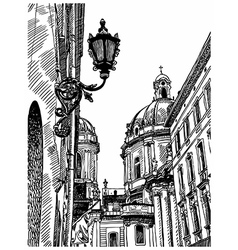 drawing of Lviv Ukraine historical avenue vector image
