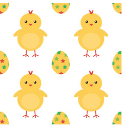 Easter eggs and cute baby chicken seamless pattern vector