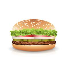 fast food realistic burger hamburger fast vector image