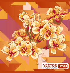 Flowers on a geometric background vector image